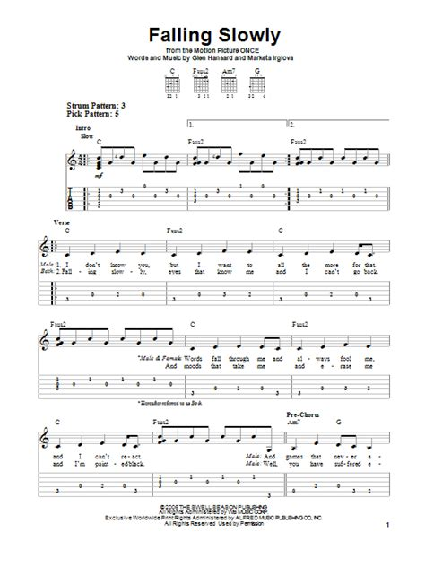 Falling Slowly sheet music by The Swell Season (Easy