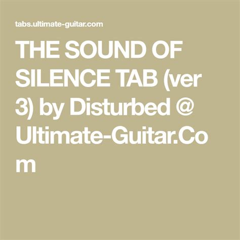 Disturbed - The Sound Of Silence (Tab) | Uke songs
