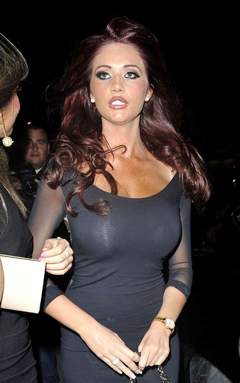 Amy Childs flashes her boobs and knickers wearing a sheer