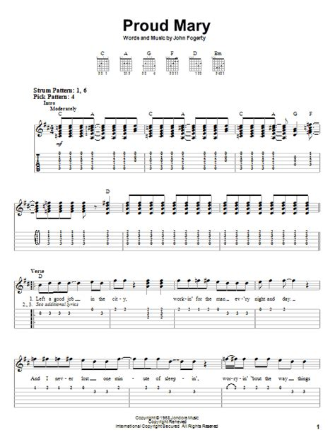Proud Mary sheet music by Creedence Clearwater Revival